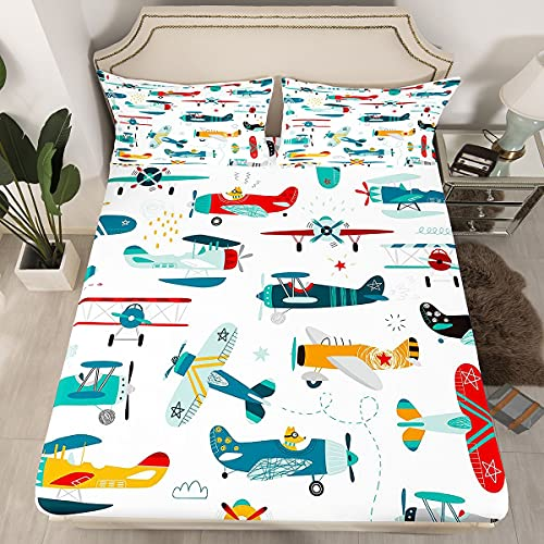 Airplane Cartoon Bedding Fitted Sheet Aircraft Flying Bed Sheet Set for...