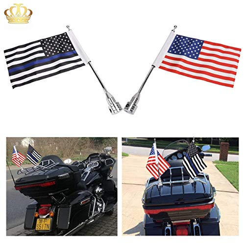 Excellent Motorcycle American Flag,Thin Blue Line USA Pole Mount Flag Pole For Honda Harley Kawasaki Suzuki Yamaha