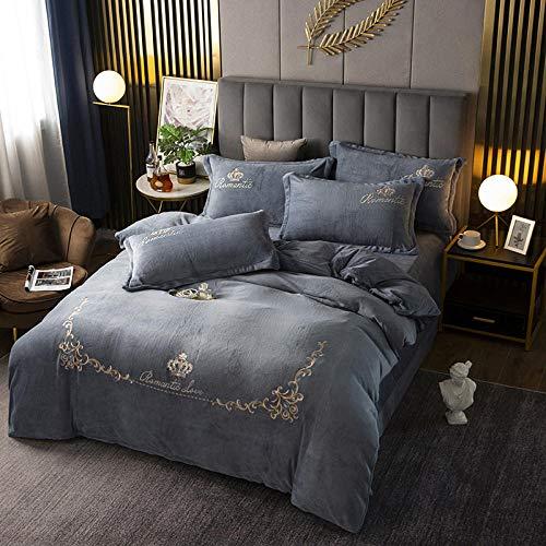 fleece duvet set double pink-Winter thick king double duvet cover single bed single flannel double-sided warm velvet pillowcase bedding kit-S_1.8m bed (4 pieces)
