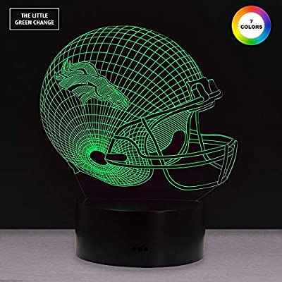Football Helmet 3D Illusion Lamp - Touch Control Football Helmet Night Light Lamp- 7 Color Changing USB Charged Nursery Decor Lamp - Perfect Gift for NFL Sports Lovers (Denver Broncos)
