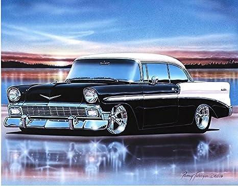 Amazon Com 1956 Chevy Bel Air 2 Door Hardtop Hot Rod Car Art Print 11x14 Black White Posters Prints
