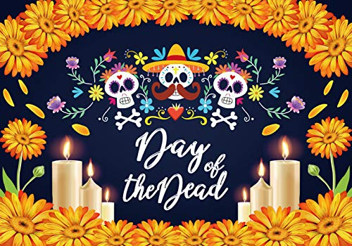 LTLYH 8x6ft Day of The Dead Backdrop Mexican Sugar Skull Flower Photo Backdrop Fabric Dia de Los Muertos Party Cake Table Banner Photo Booth Backdrop Props A065