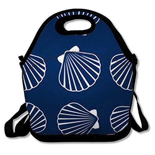 Lunch Bag for Women Men Holiday Sea Shell Pattern Pearl Scallop Oceanic Marine Life Mollusk Cockleshell Seashell Bivalve Reusable Insulated Lunch Tote with Zipper