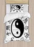 ABAKUHAUS Yin-Yang Funda Nórdica, Asianlism, Decorativo, 2 Piezas con 1 Funda de Almohada, 130 cm x 200 cm, En Blanco y Negro