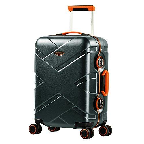 Eminent Koffer Gold Crossover S 54cm 39L Aluminiumrahmen 4 Doppelrollen 360° TSA Schloss Handgepäck Graphit/Orange