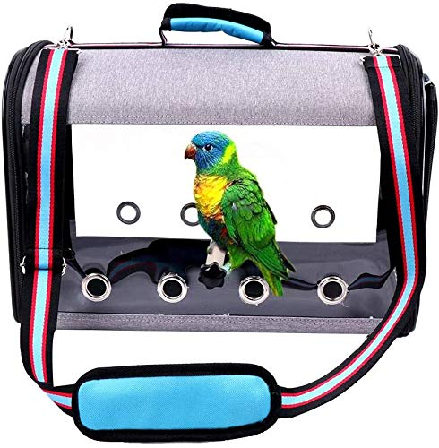 IDAS Bird Travel Cage,Light weight Transparent Bird Travel Carrier,PVC Transparent Parrots Travel Cage Breathable Pet Birds Bag Backpack with Shoulder Strap and Wooden Stick Stand (Blue)