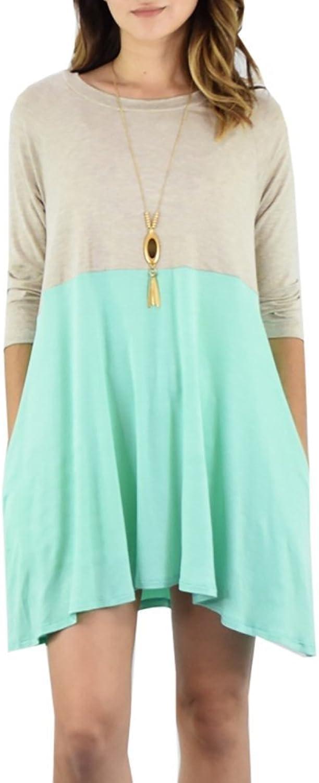 Meilidress Womens color Block T Shirt Dress 3 4 Sleeve Above Knee Length Loose Pleated Midi Dress