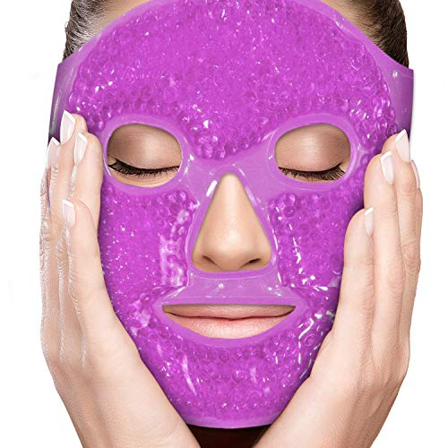 PerfeCore Facial Mask - Get Rid of Puffy Eyes - Migraine Relief, Sleeping, Travel Therapeutic Hot Cold Compress Pack - Gel Beads, Spa Therapy Wrap for Sinus Pressure Face Puffiness Headaches (Violet)