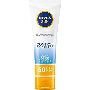 NIVEA SUN Protección Facial UV Control de Brillos FP50 (1 x 50 ml), crema solar facial, crema matificante con protección solar alta, 0% sensación pegajosa