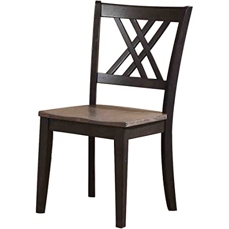 Amazon Com Iconic Furniture Double X Back Dining Chair Antiqued Grey Stone Black Stone Finish Set Of 2 Chairs