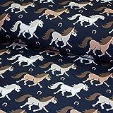 Stoff Softshell Meterware Pferd dunkelblau - Kinder-Stoff