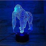 GEZHF Lampada LED 3D Anime per bambini Orangutan Gorilla Chimpancee Lampada LED USB 7 Colori che cambiano umore Illusione da tavolo Illusione Lampada da notte per bambini