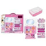 achievr Kit de Maquillaje para niños con Bolso para niñas, Sombra de Ojos para niños, Brillo de Labios, Esmalte de uñas Soluble en Agua