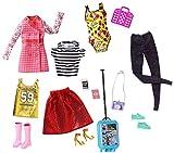 Barbie Fashionistas Kit Vêtements de Voyage, 4 Tenues pour Poupée dont Jupe, Robe, Tops, et Accesssoires, Jouet pour Enfant, FLB31