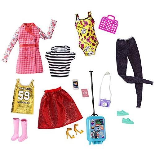 Barbie Set Collezione con 5 Look Completi con Vestitini e Accessori, Multicolore, FLB31