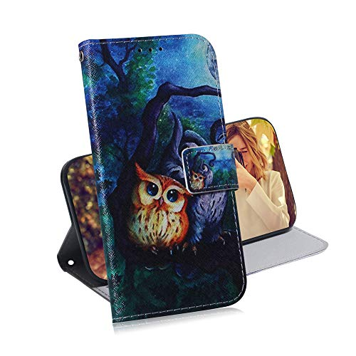 COTDINFOR LG K40S Hülle Kreativ Art Painted cool Schutzhülle PU Leder Flip Bookcase Handy Tasche Schale mit Magnet Standfunktion Etui für LG K40S Oil Painting Owl TX-CH.