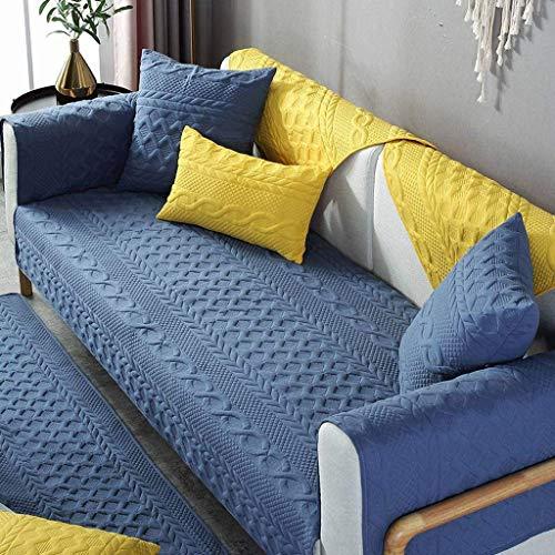 Jonist Funda de sofá de Lijado, cojín de Asiento Simple Antideslizante, Funda de Almohada para sofá, Elegante, Duradero, Azul, 110X160cm