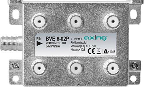 Axing BVE 6-02P 6-fach BK-Verteiler für Kabelfernsehen Multimedia  Digital-TV 5-1218 MHz F-Anschluss metall
