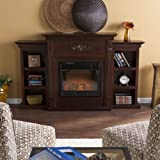 SEI Furniture Southern Enterprises Tennyson Electric Fireplace with Bookcase, Classic Espresso Finish
