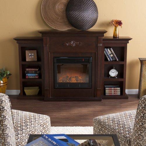 SEI Furniture Southern Enterprises Tennyson Electric Fireplace with Bookcase, Classic Espresso Finish