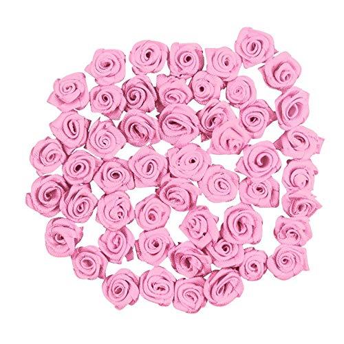 Ideen mit Herz Satinrosen | 50 Stück | Ø 1,5 cm | Deko-Rosen, Mini-Stoffrosen, kleine Rosenköpfe zum Basteln, Aufnähen, Dekorieren | Blumen-Applikationen, Tischdeko, Streudeko, Hochzeit (hellflieder)