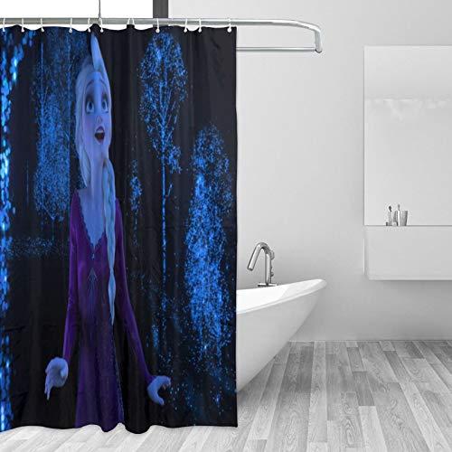 Frozen Elsa Duschvorhang wasserdicht schimmelresistent Badezimmer Vorhang waschbar Badvorhang Polyestergewebe 3D Duschvorhänge für Badezimmer mit 12 Haken, 167,6 x 182,9 cm