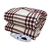 Biddeford Microplush Electric Heated Warming Throw Blanket Cream Red Plaid Washable Auto Shut Off