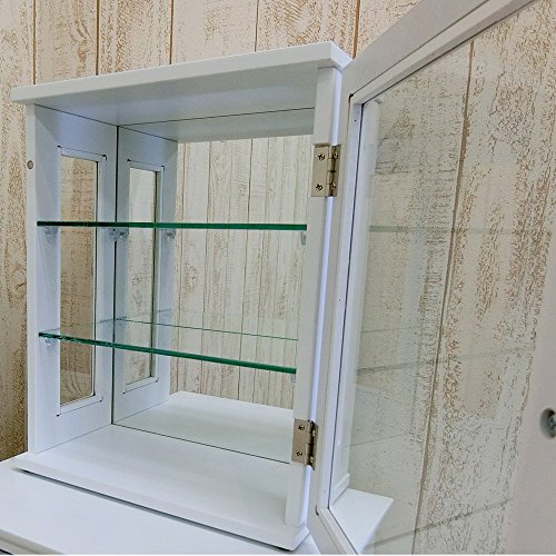 NaturalHouseコレクションケースディスプレイ棚木製背面鏡付(完成品幅30奥行17高さ38cm4.75kg材質MDFラッカー塗装強化ガラス5mm厚ミラー3mm厚)コレクション陳列ホビーケース
