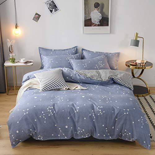 XUNGENG - Funda nórdica de alta calidad con dos fundas de almohada, funda de edredón reversible, diseño de flores, color rosa, rojo y azul (altura 150 x 200 cm)
