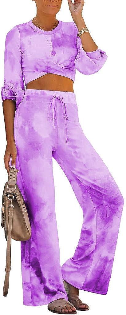 Eduavar Clothing Pajamas Set for Women, Womens Casual Long Sleeve Tie Dye Pajamas Set Two Piece Jumpsuit