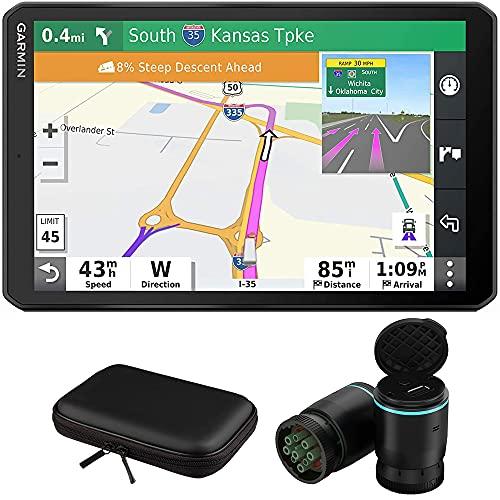 Garmin 010-02313-00 dezl OTR700 7-inch GPS Truck Navigator Bundle with Garmin eLog Compliant ELD 010-01876-00 and 8 Inch Hard EVA Case with Zipper
