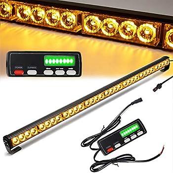 Traffic Advisor Light Bar 36 Inch 16 Flash Modes 32 Led Emergency Strobe Warning Lights Directional Bar Hazard Warning Flashing Safety Light with Led Display Screen Controller 35.5 Inch Yellow/Amber