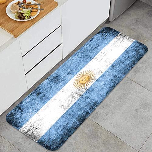 Cocina Antideslizante Alfombras de pie Bandera Argentina. Grunge Decoración de Piso Confortables para el hogar, Fregadero, lavandería-120cm x 45cm