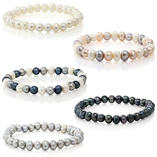 Gem Stone King Set Of 5 Multicolor Cultured Freshwater Pearl Stretch Bracelets 7.5inches