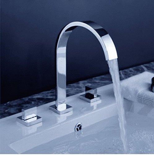 Sadasd bagno moderno rubinetto lavabo in ottone tre fori tre set di acqua tubo piatto doppio lavabo lavello rubinetto valvola in ceramica caldo e freddo rubinetto miscelatore con G1/2tubo