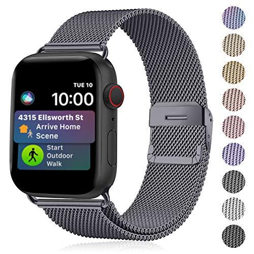 Funbiz Compatibel met Apple Watch Metaal Bandje 38mm 40mm 42mm 44mm, Flexibel Ademend Roestvrij Staal Mesh Armband Smartwatch Vervangende Band per Series 5 4 3 2 1, 42mm/44mm-Donker Grijs