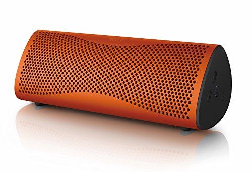 KEF MUO - Bester Bluetooth Lautsprecher -  Orange |  Tragbarer Lautsprecher für unterwegs  | Außenlautsprecher | Best bluetooth speaker für PC und Laptop | mit langer Batterie und Akkulaufzeit