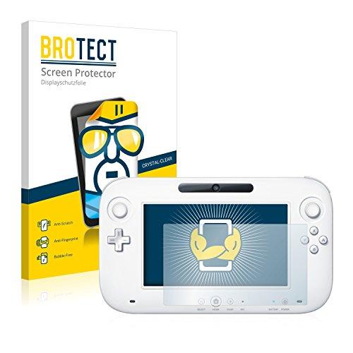 BROTECT Protector Pantalla Compatible con Nintendo Wii U Gamepad (Controller) Protector Transparente (2 Unidades) Anti-Huellas