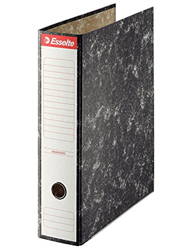 ESSELTE 46959 - Archivador de palanca cartón jaspeado con cantonera Folio. Lomo 75 mm color negro