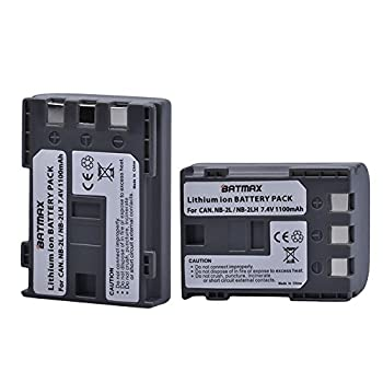 Batmax Pack of 2 NB-2L/NB-2LH High-Capacity Replacement Batteries for Canon Digital Rebel XT XTi EOS 350D 400D Digital Cameras