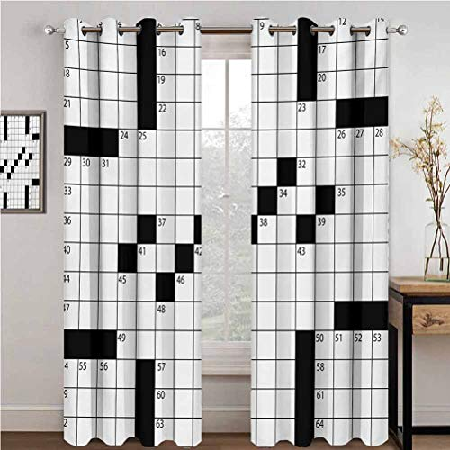 GUUVOR Word Search Puzzle Blackout Curtains - Gasket Insulation Blank Newspaper Style Crossword Puzzle with Numbers in Word Grid Blackout Curtains for The Living Room W84 x L108 Inch Black and White