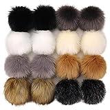 Tengsen 16 Pieces 12cm DIY Faux Fur Fluffy pom poms Ball for Hats Shoes Scarfs Bags Key Chains Accessories