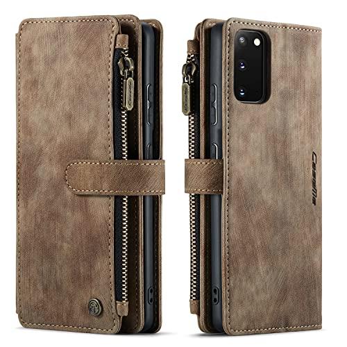 Blllue Funda tipo cartera compatible con Samsung S20, 10 ranuras para tarjetas, funda tipo cartera de piel con bolsillo con cremallera para Galaxy S20 5G (marrón)