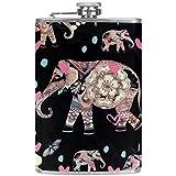 TIZORAX Pintura Elefantes Frascos de cadera de acero inoxidable Taza de vino Flagon de bolsillo con cubierta de cuero para hombres Mujeres 227 ml