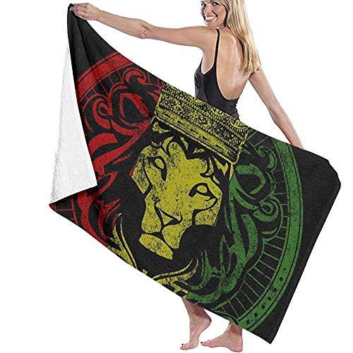 Toalla de Playa Microfibra 80X130 Cm Bandera Africana El Rey León de Judá Rasta Rastafari Toalla de baño