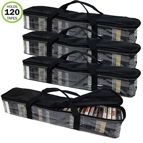 Evelots Cassette Tape Bag-Organizer/Storage-Easy Carry-No Dust/Moisture-Hold 120