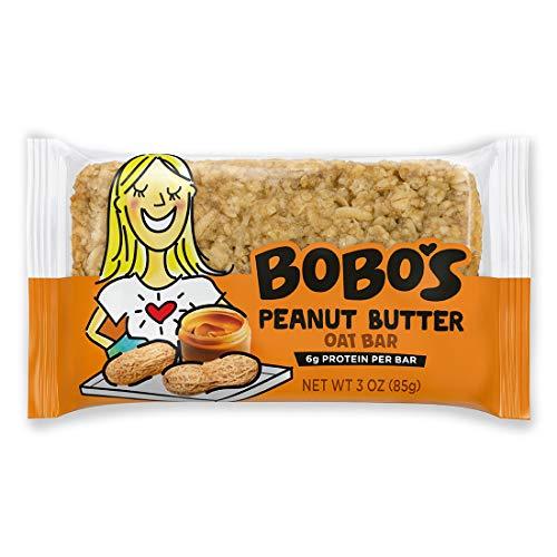 Bobo's Oat Bars (Peanut Butter, 12 Pack of 3 oz Bars) Gluten Free Whole Grain Rolled Oat Bars - Great Tasting Vegan On-The-Go Snack, Made in the USA