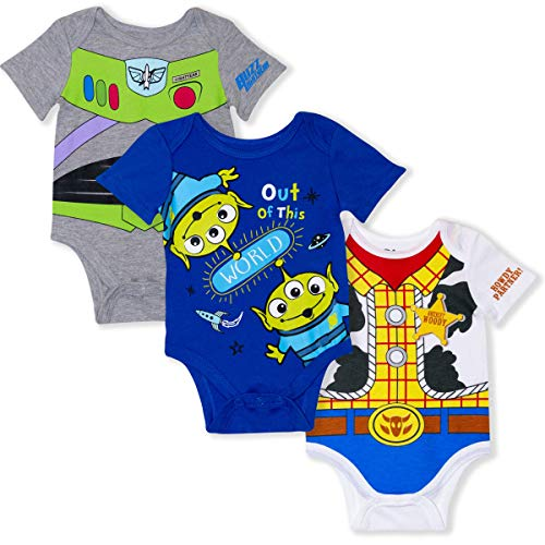 Disney 3-Pack Toy Story Infant Baby Boy Creepers with Woody, Buzz, Aliens