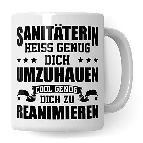 Pagma Druck Tasse Sanitäterin Geschenk, Krankenwagen Notärztin Kaffeetasse, Spruch Rettungshelferin Becher, Geschenkidee Rettungssanitäterin Rettungsdienst (Weiß/Weiß)