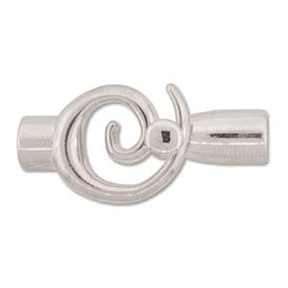 Small Glue In Swirl Toggle Clasps - Silver Plate - Perfect Clasp for Kumihimo - 6.2mm Diameter - 3 Clasps